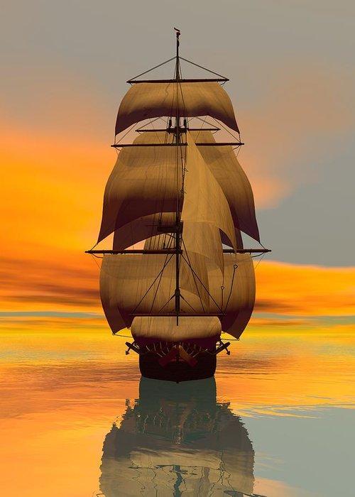 Greeting Card featuring the digital art At Full Sail by Sandra Bauser Digital Art