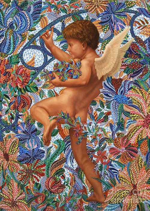 Angel Greeting Card featuring the painting At The Gate by Erika Pochybova