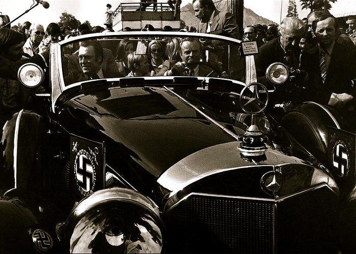 Auction Sale Last Ride Adolf Hitler's Model 770-k 1941 Mercedes-benz Touring Car Scottsdale Az 1973 Greeting Card featuring the photograph Auction Sale Last Ride Adolf Hitler's Model 770-k 1941 Mercedes-benz Touring Car Scottsdale Az 1973 by David Lee Guss