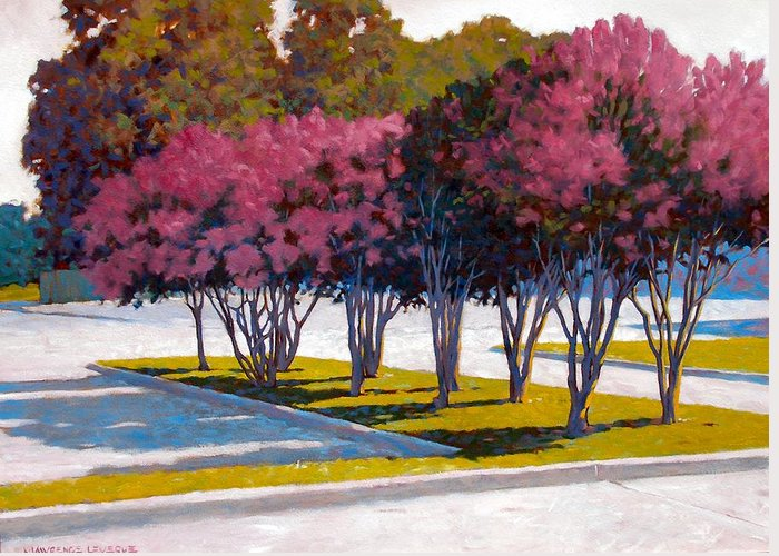Crepe Myrtles Greeting Card featuring the painting Balanced Account by Kevin Lawrence Leveque