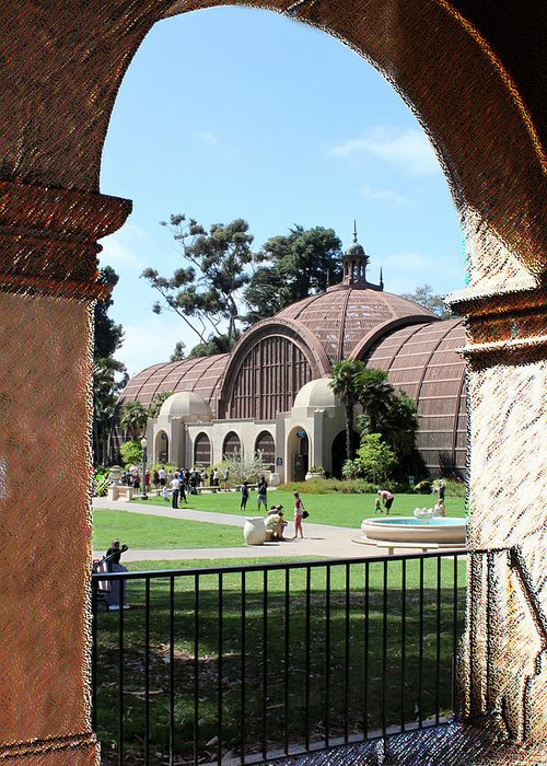Balboa Greeting Card featuring the photograph Balboa Park Arboretum Arches by Gayland Isley