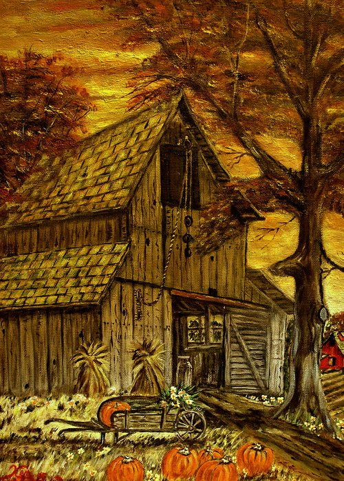 Old Barn Greeting Card featuring the painting Barn and Wheelbarrow by Kenneth LePoidevin