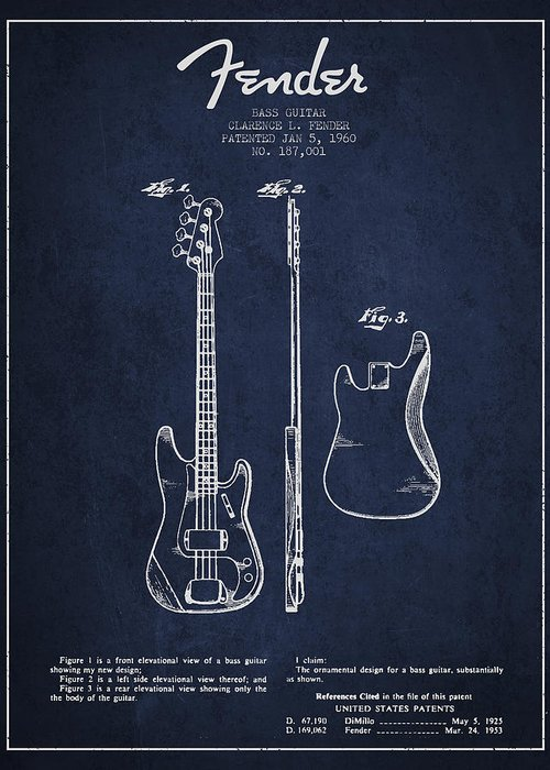 Fender Greeting Card featuring the digital art Bass Guitar Patent Drawing From 1960 by Aged Pixel