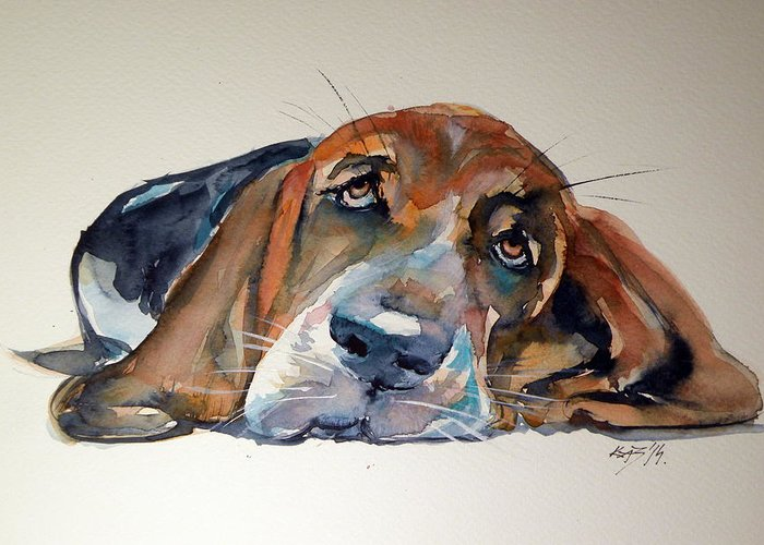 Dog Greeting Card featuring the painting Basset Hound by Kovacs Anna Brigitta