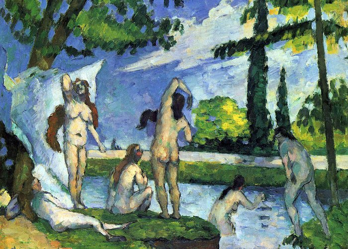 Greeting Card featuring the ceramic art Bathers By Cezanne by John Peter