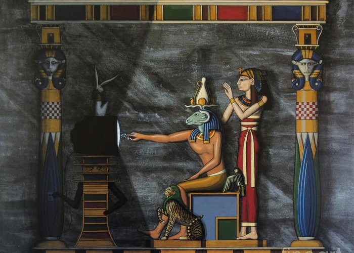 Egypt Greeting Card featuring the painting B.c. Before Cable by Richard Deurer