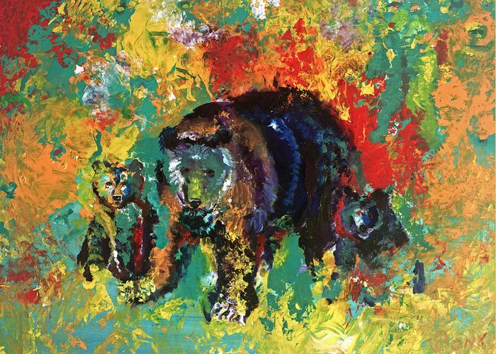 Bears Greeting Card featuring the painting Bear Family by Peter Bonk