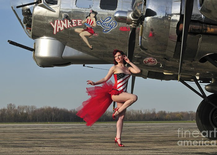 Bomber Greeting Card featuring the photograph Beautiful 1940s Style Pin-up Girl by Christian Kieffer