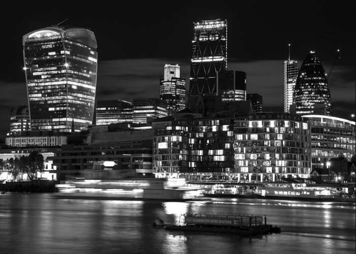 Landscape Greeting Card featuring the photograph Beautiful Black And White Image Of London City At Night With Lov by Matthew Gibson