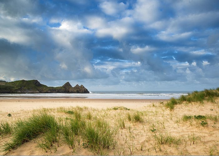 Three Cliffs Bay Greeting Card featuring the photograph Beautiful Blue Sky Morning Landscape Over Sandy Three Cliffs Bay by Matthew Gibson