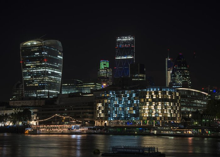 Landscape Greeting Card featuring the photograph Beautiful Night City Skyline Landscape Image Of City Of London by Matthew Gibson