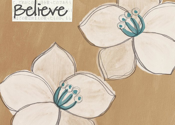 Believe Greeting Card featuring the painting Believe by Linda Woods