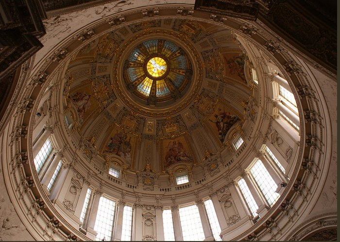 Dome From The Berlin Cathedral Greeting Card featuring the photograph Berlin by Jolly Van der Velden