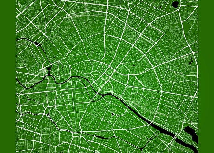 Berlin Street Map - Berlin Germany Road Map Art On Color Greeting ...