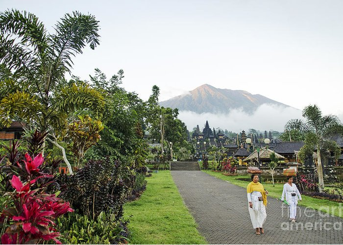 Agung Greeting Card featuring the photograph Besakih Temple And Mount Agung View In Bali Indonesia by Jacek Malipan