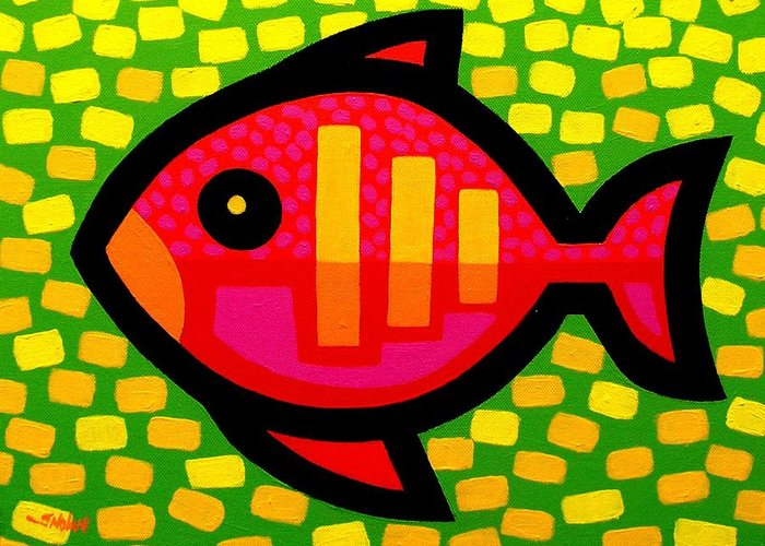 Fish Greeting Card featuring the painting Big Fish by John Nolan