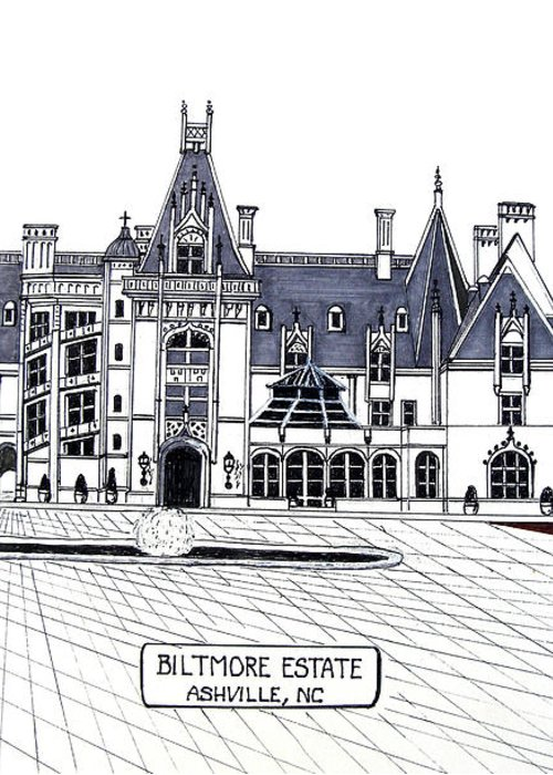 Ink Drawings Greeting Card featuring the drawing Biltmore Estate by Frederic Kohli