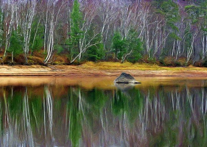 Landscape Image Of A Shoreline Of A River With Pine And Birch Trees Reflecting In The Water Greeting Card featuring the photograph Birch Shoreline by Pat Now