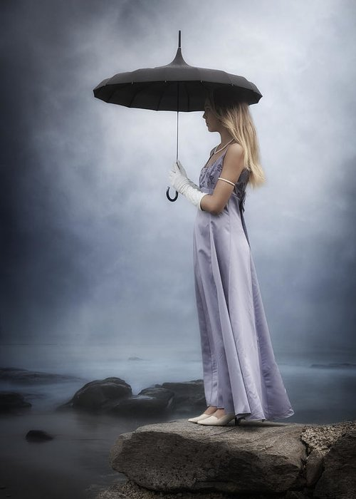 Girl Greeting Card featuring the photograph Black Umbrella by Joana Kruse