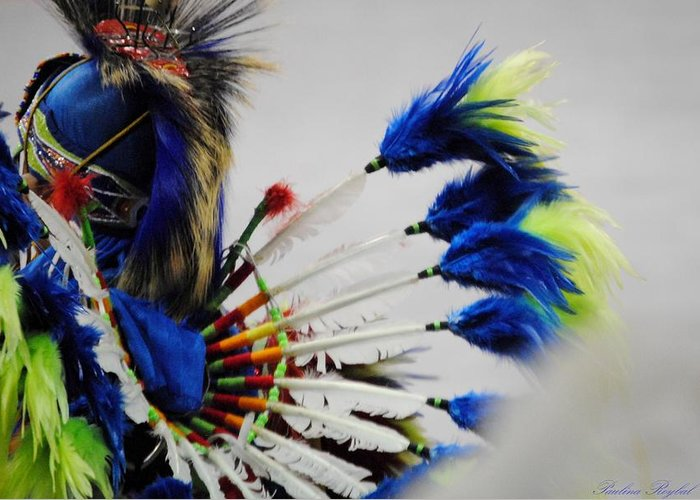 Native American Greeting Card featuring the photograph Blue Headdress by Paulina Roybal