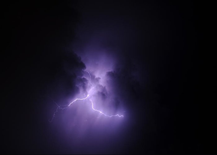 Electric Greeting Card featuring the photograph Blue Lightning by Rtm Fiveeightsix