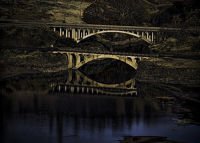 Bridges Greeting Card featuring the photograph 2 Bridges At Dusk by Dale Stillman