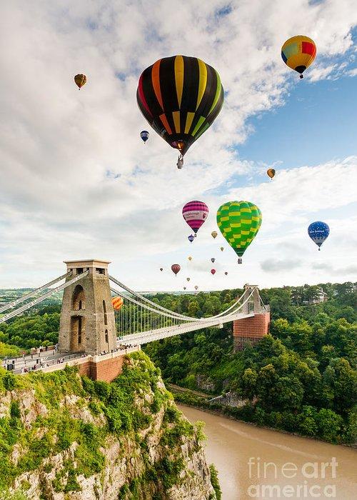 Bristol Ballon Fiesta Greeting Card featuring the photograph Bristol Balloon Fiesta Display Over Clifton Suspension Bridge by Daugirdas Racys