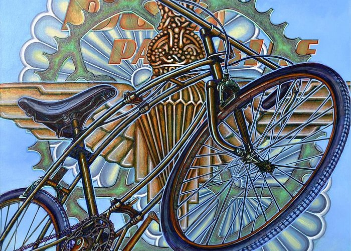 Bicycle Greeting Card featuring the painting Bsa Parabike by Mark Jones