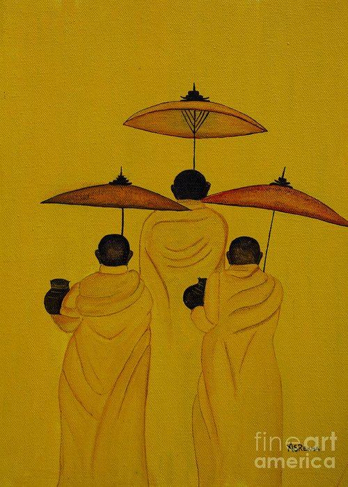 Buddha Monks Greeting Card featuring the painting Buddha Monks by Rekha Artz