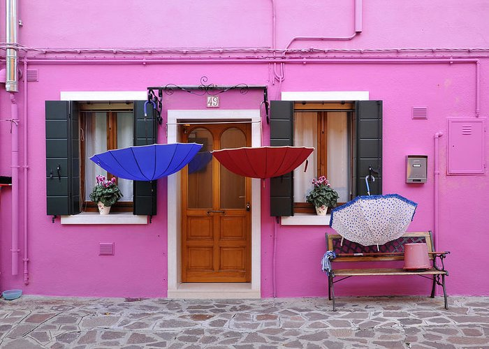 Pink Building Greeting Card featuring the photograph Burano Italy by John Jacquemain