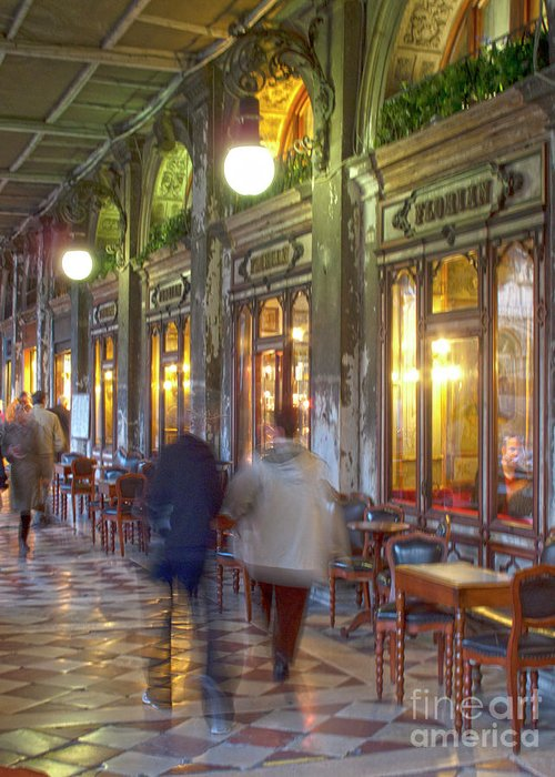 Venice Greeting Card featuring the photograph Caffe Florian Arcade by Heiko Koehrer-Wagner