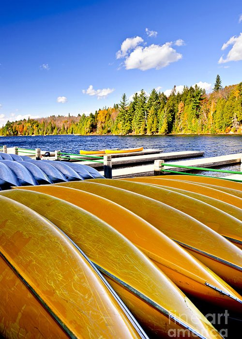Canoes Greeting Card featuring the photograph Canoes On Autumn Lake by Elena Elisseeva