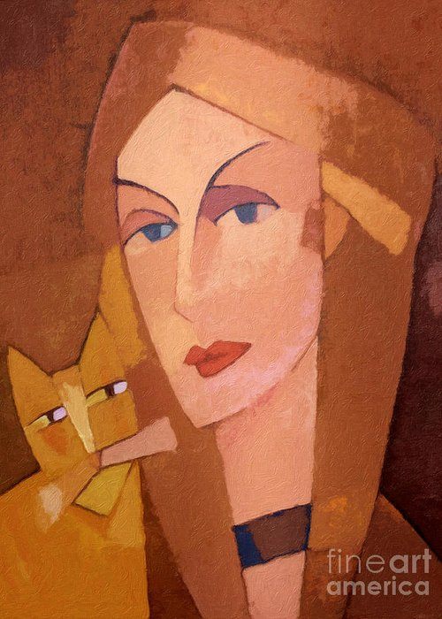 Women Portrait Greeting Card featuring the painting Cat Lady by Lutz Baar