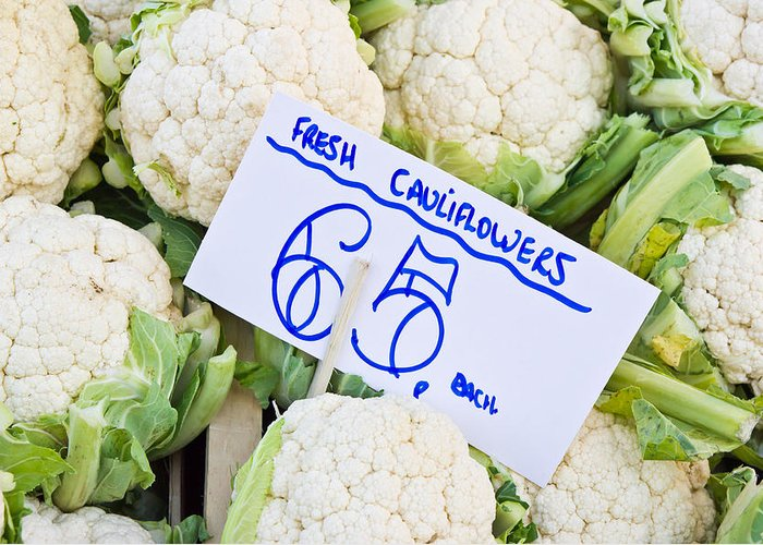 Agricultural Greeting Card featuring the photograph Cauliflower by Tom Gowanlock
