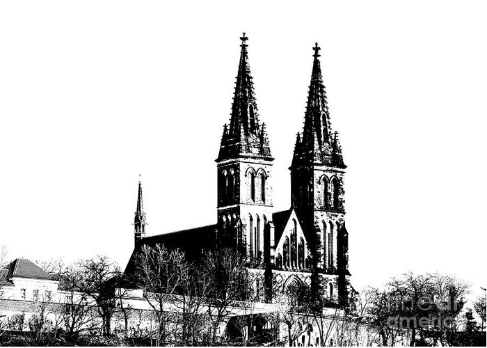 Church Greeting Card featuring the mixed media Chapter Church Of St Peter And Paul by Michal Boubin