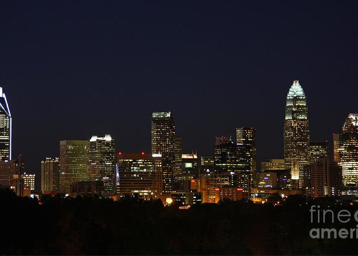 21st Century Greeting Card featuring the photograph Charlotte City Skyline At Night by Kevin McCarthy