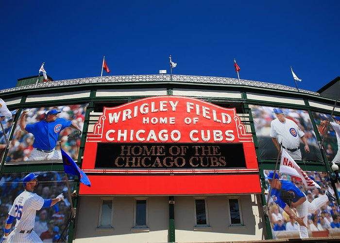 Addison Greeting Card featuring the photograph Chicago Cubs - Wrigley Field by Frank Romeo