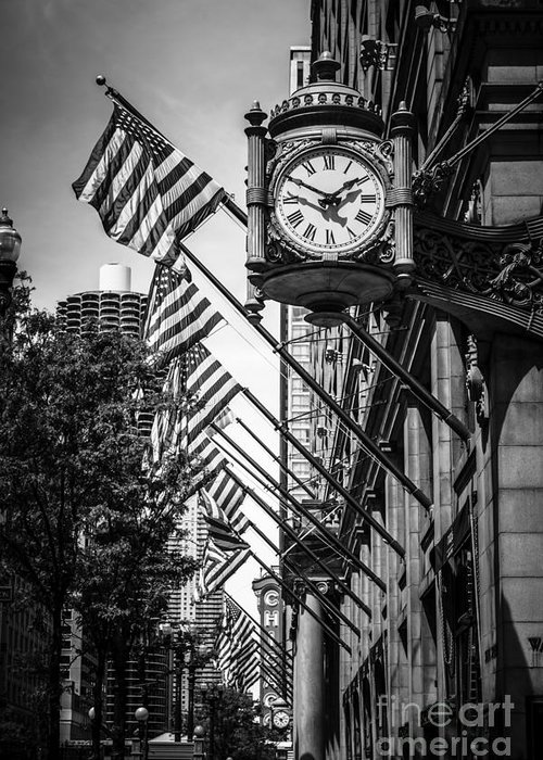 America Greeting Card featuring the photograph Chicago Macy's Clock In Black And White by Paul Velgos
