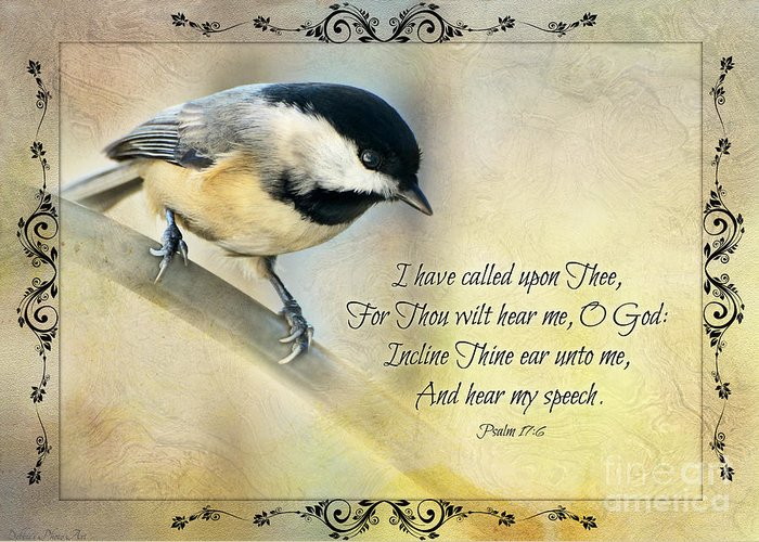 Nature Greeting Card featuring the photograph Chickadee With Verse by Debbie Portwood