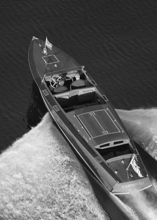 Chris Craft Aerial Greeting Card featuring the photograph Chris Craft Aerial by Steven Lapkin