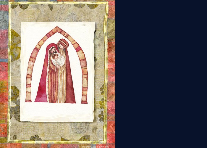 Birth Greeting Card featuring the painting Christmas Nativity Scene by Vita Masi