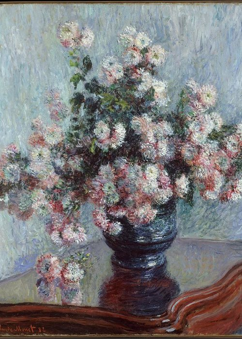 Monet Greeting Card featuring the painting Chrysanthemums by Claude Monet
