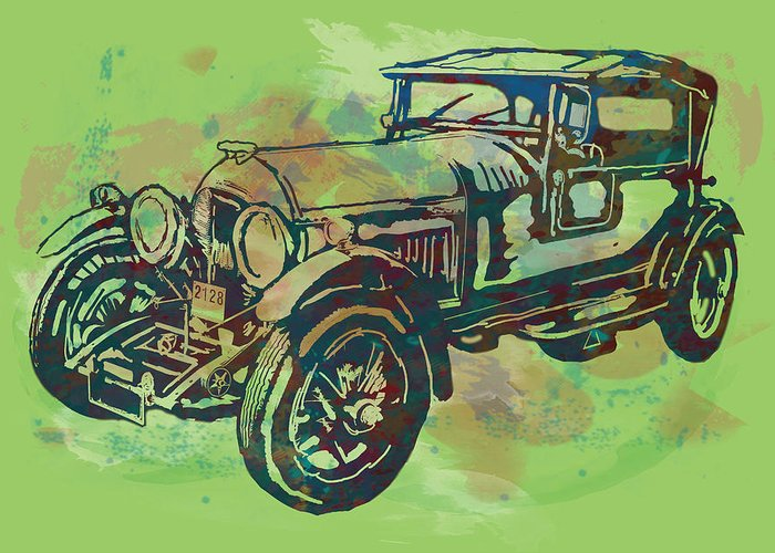 Nude Greeting Card featuring the drawing Classical Car Stylized Pop Art Poster by Kim Wang