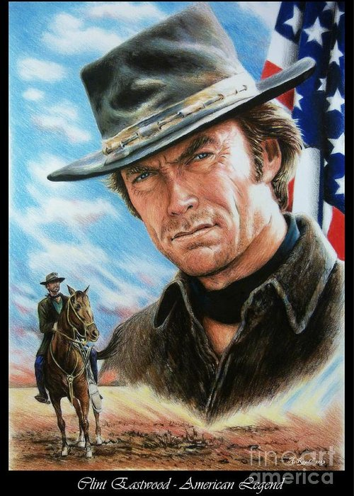 Patriotic Greeting Card featuring the painting Clint Eastwood American Legend by Andrew Read