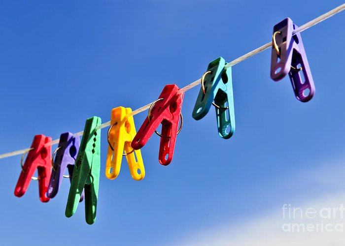 Clothes Greeting Card featuring the photograph Colorful Clothes Pins by Elena Elisseeva