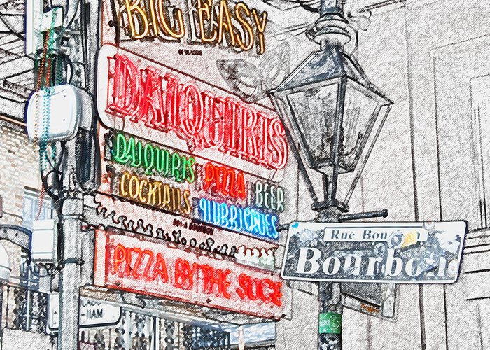 Travelpixpro New Orleans Greeting Card featuring the photograph Colorful Neon Sign On Bourbon Street Corner French Quarter New Orleans Colored Pencil Digital Art by Shawn O'Brien