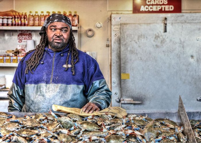 Washington Dc Fish Market Greeting Card featuring the photograph Crabby by JC Findley