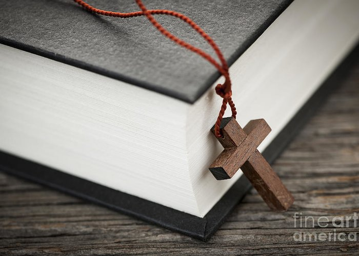 Cross Greeting Card featuring the photograph Cross And Bible by Elena Elisseeva