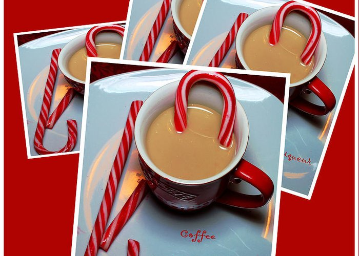 Cup Of Christmas Cheer Greeting Card featuring the photograph Cup Of Christmas Cheer - Candy Cane - Candy - Irish Cream Liquor by Barbara Griffin