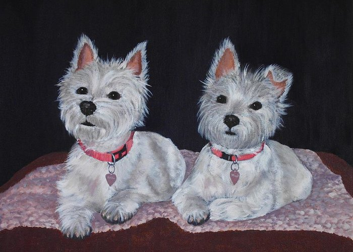 Pet Portrait Greeting Card featuring the painting 2 Cute by Anastasiya Malakhova